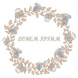 Hand-drawn round flower frame on a white background. Hand-drawn beige round flower frame on a white background Royalty Free Stock Photography