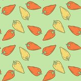 Hand drawn bell  peppers seamless pattern on green background. stock illustration