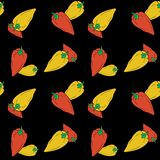 Hand drawn bell red and yellow peppers seamless pattern on black background. stock illustration