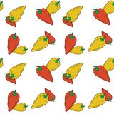 Hand drawn bell red and yellow peppers seamless pattern on white background. royalty free illustration