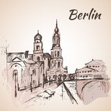 Hand drawn Berlin street near the river with benches Royalty Free Stock Images