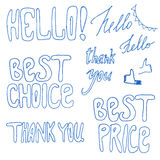 Hand drawn best price, best chance signs. Royalty Free Stock Photo