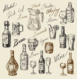 Hand drawn beverages sketch Royalty Free Stock Photo