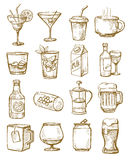 Hand drawn beverages Stock Images