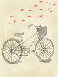 Hand drawn bicycle. Vector black hand drawn bicycle stock illustration