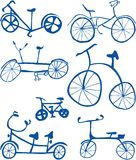 Doodle Bicycles Cutout Royalty Free Stock Photography