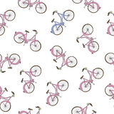 Hand drawn bicycle seamless pattern Stock Image