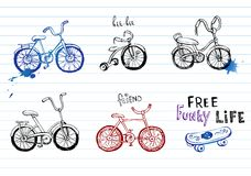 Hand drawn bicycles Stock Images