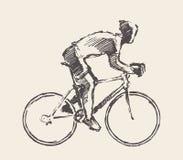 Drawn bicyclist rider man vector sketch bicycle Royalty Free Stock Photo