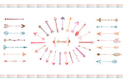 Hand drawn big arrows collection. Colorful ethnic elements set. Isolated vector. stock illustration