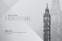 Hand drawn Big Ben Tower. London. Royalty Free Stock Image