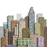 Hand drawn big city. Vintage illustration with architecture, skyscrapers, megapolis, buildings, downtown. Hand drawn city skyline. Illustration with Stock Photos