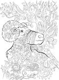 Hand drawn big horn colouring page for adults royalty free illustration