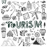 Hand drawn big set. Summer holiday - camping and sea vacation. Travel icons vector collection. Doodle tourism lettering Stock Photography