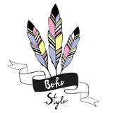 Hand drawn bird feathers with ribbon Royalty Free Stock Photography
