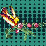 Hand drawn bird flying with flower roses tropical vintage print, Stock Photos