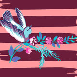 Hand drawn bird flying with flower roses tropical vintage print,. Stripes pattern retro background vector illustration for design, fashion, shirt, textile Royalty Free Stock Image