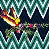 Hand drawn bird flying with flower roses tropical vintage print, Stock Images