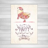 Hand-drawn bird. Greeting card on wooden Stock Photos