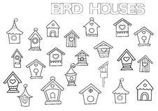 Hand drawn bird houses set. Coloring book page template. Stock Image