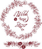 Hand drawn bird in a wild roses Royalty Free Stock Photos