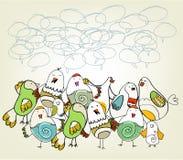 Hand drawn birds. Background design Stock Photo