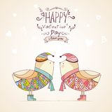 Hand-drawn birds in blue and pink shades Royalty Free Stock Images