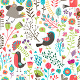 Hand-drawn birds and flowers seamless pattern Stock Images