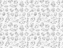 Hand drawn birds pattern. Black and white. Stock Photo