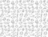 Hand drawn birds pattern. Black and white. Royalty Free Stock Photos