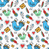Hand drawn birds pattern Stock Photography
