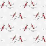 Hand drawn birds plants seamless pattern Royalty Free Stock Photos