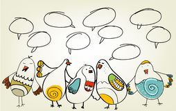 Hand drawn birds. Are talking Royalty Free Stock Image