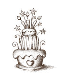 Hand drawn birthday cake Royalty Free Stock Image