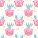 Hand drawn birthday cake seamless pattern Stock Photography