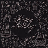 Hand drawn birthday card or birthday invitation Royalty Free Stock Images