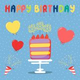 Birthday card with cake. Hand drawn birthday card with a cartoon layer cake with strawberries and sparklers, balloons, party poppers, text. Vector illustration Stock Images