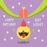 Birthday card with cute funny monster vector illustration
