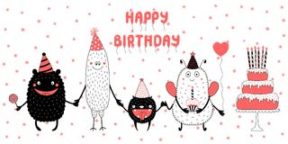 Birthday card with cute funny monsters. Hand drawn birthday card with cute funny monsters in party hats, smiling and holding hands, with typography. Vector Royalty Free Stock Photo