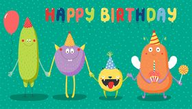 Birthday card with cute funny monsters. Hand drawn birthday card with cute funny monsters in party hats, smiling and holding hands, with typography. Vector Stock Photography