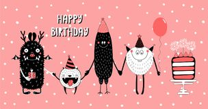 Birthday card with cute funny monsters vector illustration