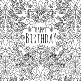 Hand drawn birthday card design Stock Photography