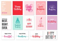 Hand drawn birthday cards, vector set Stock Photo