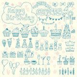 Hand drawn Birthday elements. Birthday party background Stock Photography