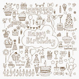 Hand drawn Birthday elements. Set of vector birthday party eleme Royalty Free Stock Photography