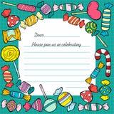 Hand Drawn Birthday Invitation Card Template Stock Photography