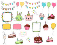 Hand drawn birthday party doodle elements Stock Image