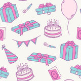 Hand drawn birthday party seamless pattern Royalty Free Stock Photography