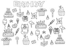 Hand drawn birthday set. Coloring book page template. Stock Images