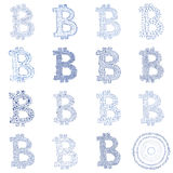 Hand-drawn Bitcoin logo collage Royalty Free Stock Images